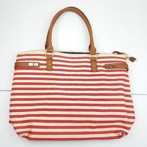 TOMMY HILFIGER Red Striped Beach Bag Purse